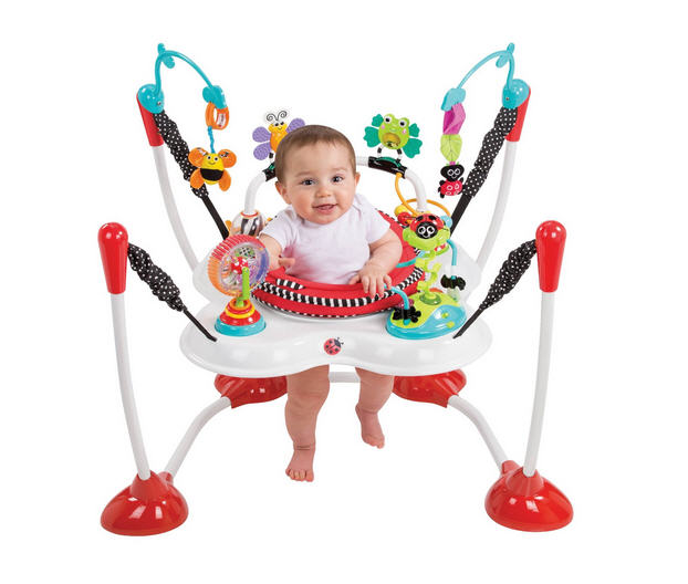 From Canada, the original doorway jumper is the Jolly Jumper ($50), which remains a parent favorite today. The founder made the first sample using a cloth diaper, a soft-action steel spring, and a spreader bar from an old axe handle. Genius! Though not the cheapest doorway jumper, .